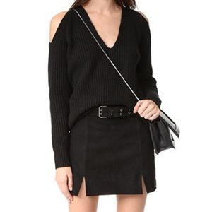 Rebecca Minkoff Black Suede Belted Mini Skirt